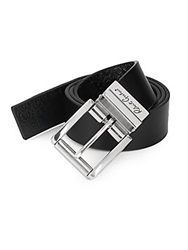 Robert Graham Potter Reversible Leather Belt Black