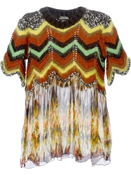 Jean Paul Gaultier Vintage Printed Sheer Panel Knitted Top Multicolour