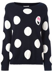 Chinti And Parker Polka Dot Emoji Sweater Blue