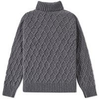 Inis Meain Trellis Cable Roll Neck Grey