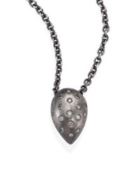 Rene Escobar Small Diamond And Sterling Silver Teardrop Pendant Necklace