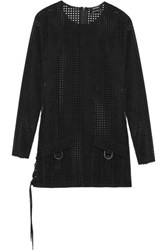 Anthony Vaccarello Perforated Faux Suede Mini Dress Black