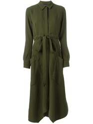 Cedric Charlier Long Sleeve Shirt Dress Green