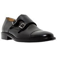 Dune Black Rushmore Leather Double Buckle Monk Shoes Black