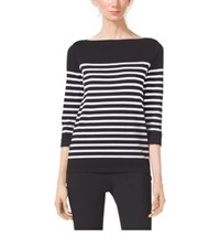 Michael Kors Striped Compact Cotton Boatneck Top Black White