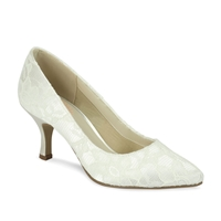 Paradox London Pink Cameo Pointed Lace Court Shoes Ivory