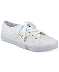 G By Guess Byrone Quilted Lace Up Sneakers Women's Shoes White