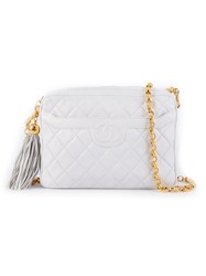 Chanel Vintage Quilted Chain Shoulder Bag White