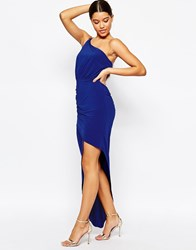 Fleur East By Lipsy Asymmetric Maxi Dress With One Shoulder Detail Blue