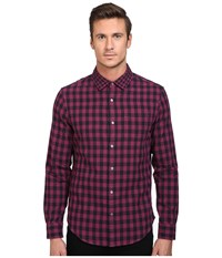 Original Penguin Long Sleeve Double Weave Gingham Amaranth Men's Long Sleeve Button Up Purple