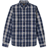 Beams Plus Button Down Seersucker Check Shirt Blue