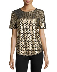 Equipment Riley Metallic Floral Print Tee True Black Gold True Black Gold