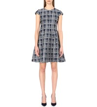 Armani Collezioni Checked Linen Blend Dress Navy