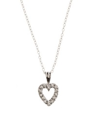 Lord And Taylor Sterling Silver And Cubic Zirconia Open Heart Mini Pendant Necklace