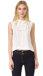 Veronica Beard Aster Collar Bib Sleeveless Blouse White