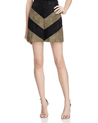 Astr Ruth Chevron Faux Suede Mini Skirt Olive Black