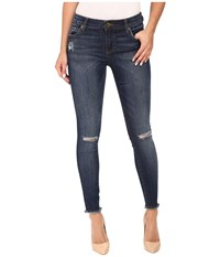 Kut From The Kloth Connie Ankle Skinny Fray Hem In Skilled W Dark Stone Base Wash Skilled Dark Stone Base Wash Women's Jeans Blue