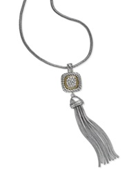 Alfani Two Tone Crystal Pave Tassel Long Necklace