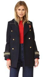 Hilfiger Collection Military Coat Navy Blazer