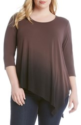 Karen Kane Plus Size Women's Dip Dye Asymmetrical Hem Top Mushroom