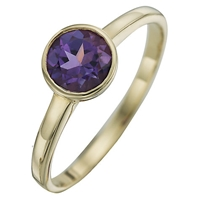 A B Davis 9Ct Yellow Gold Round Gemstone Rubover Ring Amethyst