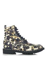 Givenchy Floral Print Embellished Leather Ankle Boots