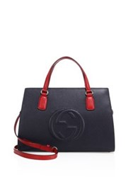 Gucci Soho Multicolor Leather Top Handle Satchel Midnight Blue