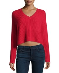Design History Cashmere Fisherman Cropped Sweater Crimson