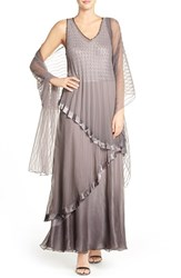 Women's Black By Komarov Ombre Chiffon Gown And Shawl Oyster Smoke Ombre