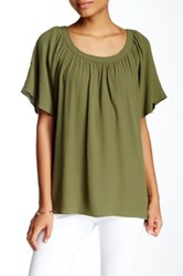 1.State Flutter Sleeve Scoop Neck Blouse Green