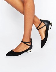 Aldo Biacci Ankle Strap Plated Heel Flat Shoes Black