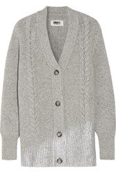 Maison Martin Margiela Mm6 Metallic Cable Knit Wool Blend Cardigan Gray