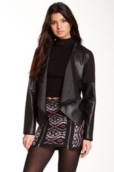 Twelfth St. By Cynthia Vincent Leather Sleeve Jacket Black