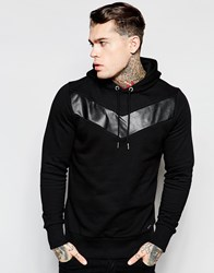 Diesel Hoodie S Mangala Lth Leather Chevron In Black Black