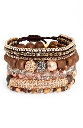 Erimish Women's Beaded Crystal Bracelets Set Of 5 Rose Gold