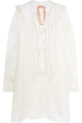 N 21 No. 21 Striped Metallic Organza And Guipure Lace Dress White
