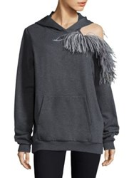 Christopher Kane Feather Detail Cold Shoulder Hoodie Grey