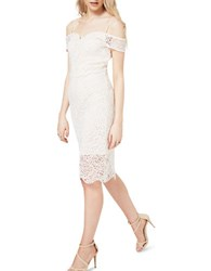 Miss Selfridge Lace Bardot Bodycon Dress White
