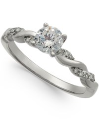 Macy's Diamond Twist Engagement Ring 3 4 Ct. T.W. In 14K White Gold
