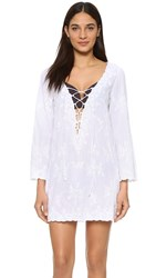 Juliet Dunn Lace Up Caftan White