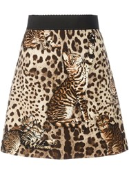 Dolce And Gabbana Cat Print Skirt Nude And Neutrals