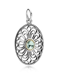 Pandora Design Pandora Pendant Sterling Silver And 14K Gold Vintage Allure Silver Green
