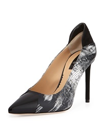 Reed Krakoff Academy Printed Leather Pointed Toe Pump Black White