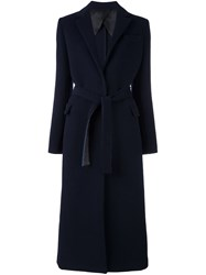 Msgm Belted Long Coat Blue