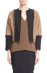 Zero Maria Cornejo Women's 'Nube' Genuine Shearling Cropped Jacket Charcoal Olive