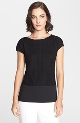 St. John Cable And Milano Knit Cap Sleeve Top Caviar
