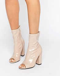 Truffle Collection Peep Toe Boots Nude Patent Beige