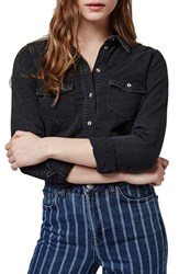Women's Topshop Western Denim Shirt Black
