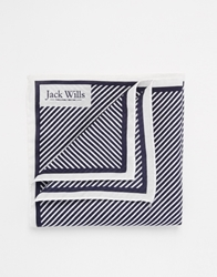 Jack Wills Blackthorne Stripe Pocket Square White