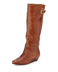 Steven By Steve Madden Insight Leather Demi Wedge Boot Brown Leat